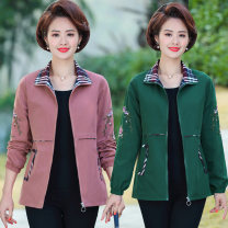 Middle aged and old women's wear Spring 2020 Skin red purple red green XL (about 100kg is recommended) 2XL (about 115KG is recommended) 3XL (about 130kg is recommended) 4XL (about 145kg is recommended) 5XL (about 160kg is recommended) fashion Jacket / jacket easy singleton  Solid color Cardigan other