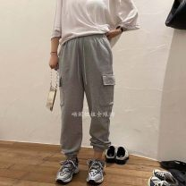 Casual pants Gray, white, black, blue, white (Korean stock), black (Korean stock) Average size Spring 2021 trousers Overalls High waist commute routine 25-29 years old A040618 cotton Korean version pocket Asymmetry