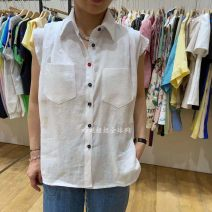 shirt White, apricot, black, turquoise, pink Average size Summer 2021 hemp 96% and above Sleeveless commute Regular Polo collar Single row multi button routine Solid color 25-29 years old Straight cylinder A041320AG04 Button hemp