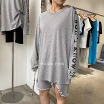 T-shirt White, gray Average size Spring 2021 Long sleeves Crew neck easy Regular routine commute cotton 96% and above 18-24 years old Korean version youth Solid color, letter A041204AA35 printing