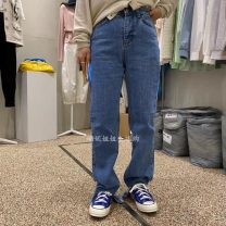 Jeans Winter 2020 Blue, blue Korean spot, blue s domestic spot do not return do not change D S,M,L trousers High waist Straight pants routine 18-24 years old washing Cotton denim light colour A031918AH09 96% and above
