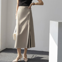 skirt Autumn 2020 S,M,L Light coffee, yellow, green, white, black Mid length dress commute Natural waist Splicing style Solid color Type A 25-29 years old T099 More than 95% other polyester fiber Simplicity