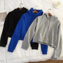 Sweater / sweater Autumn of 2018 Gray, blue, black M, L Long sleeves have cash less than that is registered in the accounts Socket singleton  routine Hood easy commute routine Solid color 81% (inclusive) - 90% (inclusive) Korean version cotton Embroidery cotton