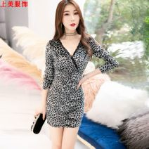 Dress Winter of 2019 Grey, brown S,M,L,XL,2XL Short skirt singleton  Long sleeves commute V-neck middle-waisted Leopard Print Socket other other Others 18-24 years old Other / other Korean version 81% (inclusive) - 90% (inclusive) other polyester fiber
