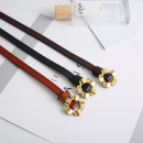 Belt / belt / chain Double skin leather Black, brown, brown female belt Versatile Single loop Youth, youth, middle age Smooth button Flower design soft surface 1cm alloy alone Other / other 110cm
