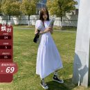 Dress Summer 2021 White, black S,M,L Mid length dress singleton  Short sleeve commute Crew neck High waist Solid color A-line skirt routine Others 18-24 years old Other / other Korean version bow 51% (inclusive) - 70% (inclusive) other