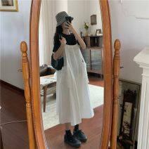Dress Summer 2021 White suspender skirt, black suspender skirt, white T-shirt, black T-shirt Average size Mid length dress Two piece set Short sleeve Sweet Crew neck Big swing straps 18-24 years old Type A 81% (inclusive) - 90% (inclusive) other cotton college