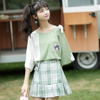 Dress Summer 2020 Plaid skirt with white and green sleeves S,M,L,XL Short skirt Two piece set Short sleeve Sweet Crew neck High waist Cartoon animation Pleated skirt routine 18-24 years old Type A 31% (inclusive) - 50% (inclusive) other Mori