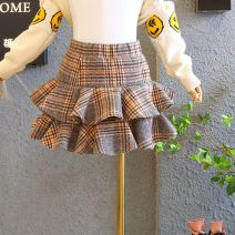skirt 90cm,100cm,110cm,120cm,130cm,140cm,150cm superior quality. Check skirt. Stock with top Other / other female Other 100% No season skirt Korean version lattice Lotus leaf edge other Woollen plaid skirt Class A