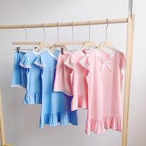 suit Other / other female summer Korean version Short sleeve + pants 2 pieces Thin money There are models in the real shooting Socket nothing Solid color cotton children Expression of love other 2 years old, 3 years old, 4 years old, 5 years old, 6 years old, 7 years old