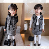 suit Other / other White three piece set, black three piece set 5 (recommended height 85-93cm), 7 (recommended height 93-100cm), 9 (recommended height 100-107cm), 11 (recommended height 107-113cm), 13 (recommended height 113-118cm) female spring and autumn college Long sleeve + skirt 3 pieces routine