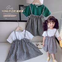 suit Other / other White, green 7 (order according to size chart), 9 (order according to size chart), 11 (order according to size chart), 13 (order according to size chart), 15 (order according to size chart) female summer Korean version Short sleeve + skirt 2 pieces Thin money No model Socket cotton
