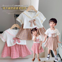 suit Other / other Khaki, pink female summer Korean version Short sleeve + skirt 2 pieces Thin money There are models in the real shooting Socket nothing lattice cotton children Expression of love other 2 years old, 3 years old, 4 years old, 5 years old, 6 years old, 7 years old