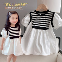 Dress As shown in the picture female Other / other 5 (order according to size chart), 7 (order according to size chart), 9 (order according to size chart), 11 (order according to size chart), 13 (order according to size chart) Other 100% summer Korean version Short sleeve stripe cotton Pleats QZF510