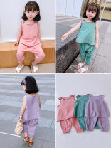 suit Other / other 7 (recommended height 90-100cm), 9 (recommended height 100-105cm), 11 (recommended height 105-110cm), 13 (recommended height 110-115cm), 15 (recommended height 115-125cm) female summer Korean version Sleeveless + pants 2 pieces Thin money There are models in the real shooting other