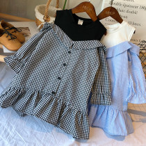 Dress Blue Stripe Black White Check Other / other female 100 (recommended height 95cm) 110 (recommended height 105cm) 120 (recommended height 110cm) 130 (recommended height 120cm) 140 (recommended height 125cm) Other 100% spring and autumn Korean version Long sleeves stripe blending Pleats CQZ613