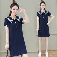 Dress Summer 2021 Sapphire blue white M L XL 2XL 3XL Mid length dress singleton  Short sleeve commute Admiral High waist Solid color Socket other routine Others 25-29 years old Black and white feelings Korean version Button HB-2692GS 51% (inclusive) - 70% (inclusive) other cotton