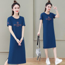 Dress Summer 2021 Bean paste red peacock blue black M L XL 2XL 3XL Mid length dress singleton  Short sleeve commute Crew neck High waist letter Socket other routine Others 25-29 years old Black and white feelings Korean version Embroidery HB-696AS 31% (inclusive) - 50% (inclusive) other nylon