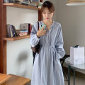 Dress Spring 2021 Apricot, blue Average size longuette singleton  Long sleeves commute V-neck High waist Solid color Single breasted bishop sleeve 18-24 years old Korean version Frenulum 71% (inclusive) - 80% (inclusive) cotton
