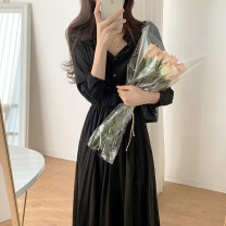 Dress Spring 2021 black S,M,L,XL longuette singleton  Long sleeves commute V-neck Elastic waist Solid color Single breasted routine 18-24 years old Type A Korean version Button 31% (inclusive) - 50% (inclusive) Chiffon polyester fiber