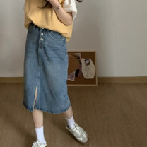 skirt Spring 2021 S,M,L Light blue, soot Mid length dress Versatile High waist Denim skirt Solid color Type A 18-24 years old 71% (inclusive) - 80% (inclusive) Denim Button
