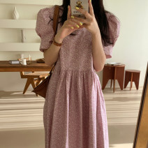 Dress Summer 2021 Green, black, pink Average size Mid length dress singleton  Short sleeve commute Crew neck High waist Broken flowers A-line skirt puff sleeve 18-24 years old Type A Korean version 31% (inclusive) - 50% (inclusive) Chiffon polyester fiber