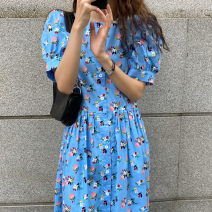 Dress Summer 2021 blue Average size Mid length dress singleton  Short sleeve commute Crew neck High waist Decor Single breasted Big swing puff sleeve 18-24 years old Type A Korean version 71% (inclusive) - 80% (inclusive) cotton