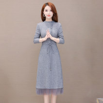 Dress Autumn 2020 grey M L XL 2XL 3XL Mid length dress singleton  Long sleeves commute Half high collar High waist Solid color Socket A-line skirt routine Others 35-39 years old Type A Comedo Korean version Lace up button print LXY0625 More than 95% knitting polyester fiber