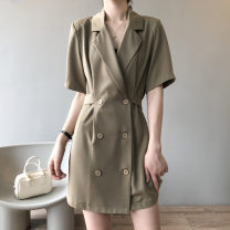 Dress Summer 2021 Khaki, black M, L Short skirt singleton  Short sleeve commute tailored collar Solid color double-breasted A-line skirt routine Type A Other / other Korean version Frenulum More than 95% polyester fiber