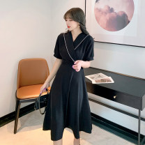 Dress Summer 2021 black S,M,L,XL Middle-skirt singleton  Short sleeve commute tailored collar High waist Solid color Socket A-line skirt routine 25-29 years old Type A Other / other bow polyester fiber