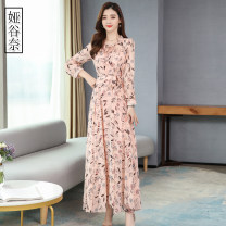 Dress Spring 2020 M L XL 2XL 3XL 4XL longuette singleton  Long sleeves commute other High waist Broken flowers Socket Big swing routine Others 35-39 years old Type A Yagunai Korean version Lace up print More than 95% other Other 100% Pure e-commerce (online only)