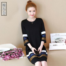 Dress Spring of 2019 black L XL 2XL 3XL 4XL 5XL Mid length dress singleton  three quarter sleeve commute Crew neck Loose waist Solid color Socket A-line skirt routine Others 35-39 years old Type A Yagunai Korean version YGN2018Q0113 More than 95% other Other 100% Pure e-commerce (online only)