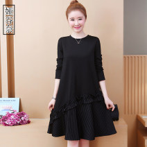 Women's large Autumn of 2019 black L XL 2XL 3XL 4XL 5XL Dress singleton  commute easy moderate Socket Long sleeves stripe Korean version Crew neck Collage routine YGN2019Z9107D Yagunai 35-39 years old Medium length Other 100% Pure e-commerce (online only) other
