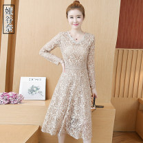 Dress Autumn of 2019 Khaki apricot black white S M L XL 2XL 3XL 4XL Mid length dress singleton  Long sleeves commute V-neck High waist other A-line skirt routine Others 35-39 years old Type A Yagunai Korean version Cut out stitching lace YGN2019Z8960 More than 95% other Other 100%