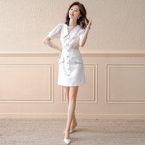 Dress Summer 2021 white S M L XL Short skirt singleton  Short sleeve commute Doll Collar High waist Solid color Single breasted A-line skirt puff sleeve Others 25-29 years old Type A A concubine Korean version Button YF2213 More than 95% other other Other 100% Pure e-commerce (online only)