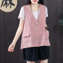 Vest Summer of 2019 Average size routine V-neck commute Solid color Single breasted other 30-34 years old Mu Mei's Poems 96% and above other Pocket button Other 100% Exclusive payment of tmall
