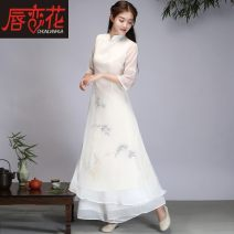 National costume / stage costume Autumn of 2019 2196 white (dress only) 2196 white dress + 212 white wide leg pants (suit) M L XL 2XL Lips in love with flowers Other 100% Pure e-commerce (online only)