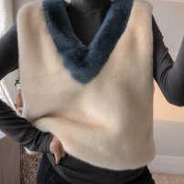 leather and fur Autumn of 2019 Other / other milky white S,M,L,XL have cash less than that is registered in the accounts Sleeveless commute V-neck other Imitation fur Korean version 18-24 years old Splicing 91% (inclusive) - 95% (inclusive)