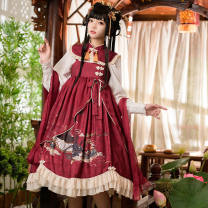 Dress Autumn 2020 Suspender skirt + Cape, shirt + Cape + Silk (excluding skirt), two together to buy is a set of oh S,M,L Mid length dress Long sleeves routine bow