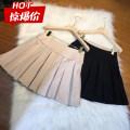 skirt Spring 2020 S,M,L Milky white, black Short skirt Versatile High waist Pleated skirt Solid color Type A 18-24 years old polyester fiber fold