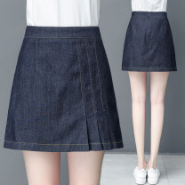 skirt Summer 2020 26/S,27/M,28/L,29/XL,30/2XL,31/3XL navy blue Short skirt commute High waist A-line skirt Solid color 25-29 years old 9118X More than 95% other Other / other cotton Korean version