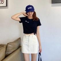 skirt Summer 2021 XXS,XS,S,M Black, beige Short skirt Versatile High waist Denim skirt Solid color Type A 18-24 years old 71% (inclusive) - 80% (inclusive) Denim cotton Pocket, button, zipper 201g / m ^ 2 (including) - 250G / m ^ 2 (including)