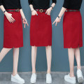 skirt Autumn of 2019 26/S,27/M,28/L,29/XL,30/2XL Red, black, khaki Mid length dress commute High waist skirt Solid color Type A 25-29 years old QZW-G6026 More than 95% Other / other cotton Pocket, button, zipper Korean version