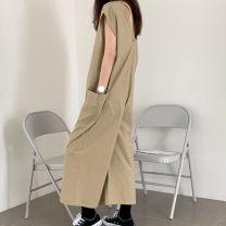 Casual pants Khaki black S M L XL Spring 2020 Ninth pants Wide leg pants Natural waist commute routine G35 Enchantment of imperial concubines Korean version zipper Cotton 70% polyester 30% Pure e-commerce (online only)
