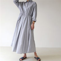 Dress Summer 2021 stripe S M L XL longuette singleton  Long sleeves commute Polo collar Elastic waist Solid color Single breasted A-line skirt routine 25-29 years old Type A Enchantment of imperial concubines Korean version Button U30 31% (inclusive) - 50% (inclusive) cotton Cotton 50% LINEN 50%