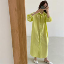 shirt Lemon yellow green white S M L XL Summer 2020 cotton 96% and above Long sleeves commute Medium length Polo collar Single row multi button routine Solid color 25-29 years old Straight cylinder Enchantment of imperial concubines Korean version F101 Button Cotton 100% Pure e-commerce (online only)
