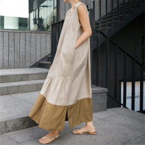 Dress Summer 2020 Color matching S M L XL longuette singleton  Sleeveless commute V-neck Loose waist Solid color Socket A-line skirt 25-29 years old Enchantment of imperial concubines Korean version Ruffle pocket F177 More than 95% cotton Cotton 100% Pure e-commerce (online only)