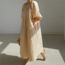 Dress Summer 2020 Beige Pink Black S M L XL longuette singleton  Short sleeve commute Crew neck Loose waist Solid color Socket A-line skirt puff sleeve 25-29 years old Enchantment of imperial concubines Korean version Bow and ruffle pocket F74 More than 95% cotton Cotton 100%