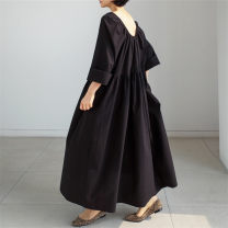 Dress Summer 2020 Black Beige S M L XL longuette singleton  Long sleeves commute Crew neck Loose waist Solid color Socket A-line skirt routine 25-29 years old Enchantment of imperial concubines Korean version F44 More than 95% cotton Cotton 100% Pure e-commerce (online only)
