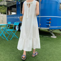 Dress Summer 2020 white S M L XL longuette singleton  Sleeveless commute V-neck Loose waist Solid color Socket A-line skirt camisole 25-29 years old Enchantment of imperial concubines Korean version Bow and ruffle F132 More than 95% polyester fiber Polyester 100% Pure e-commerce (online only)